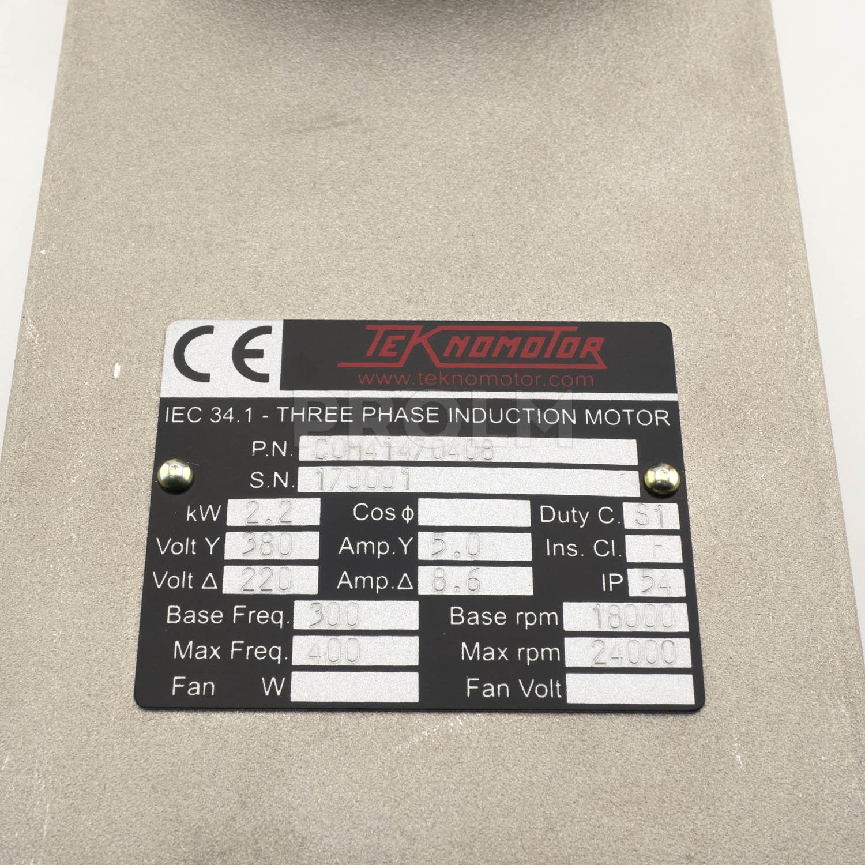 Электрошпиндель 2,2 кВт, C41/47-C-400-DB-ER20-RH,  220/380В, 300-400Гц, 18000-24000об/мин