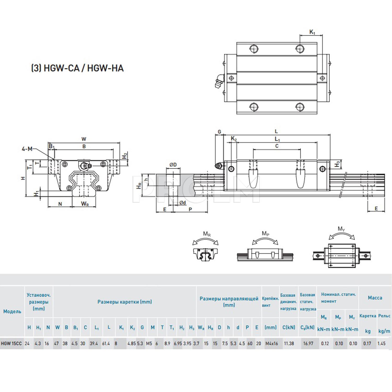Блок системы линейного перемещения  HIWIN HGW15CCZAH