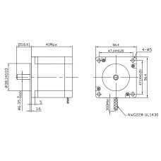 Шаговый двигатель FL57STH41-2804A-6,35